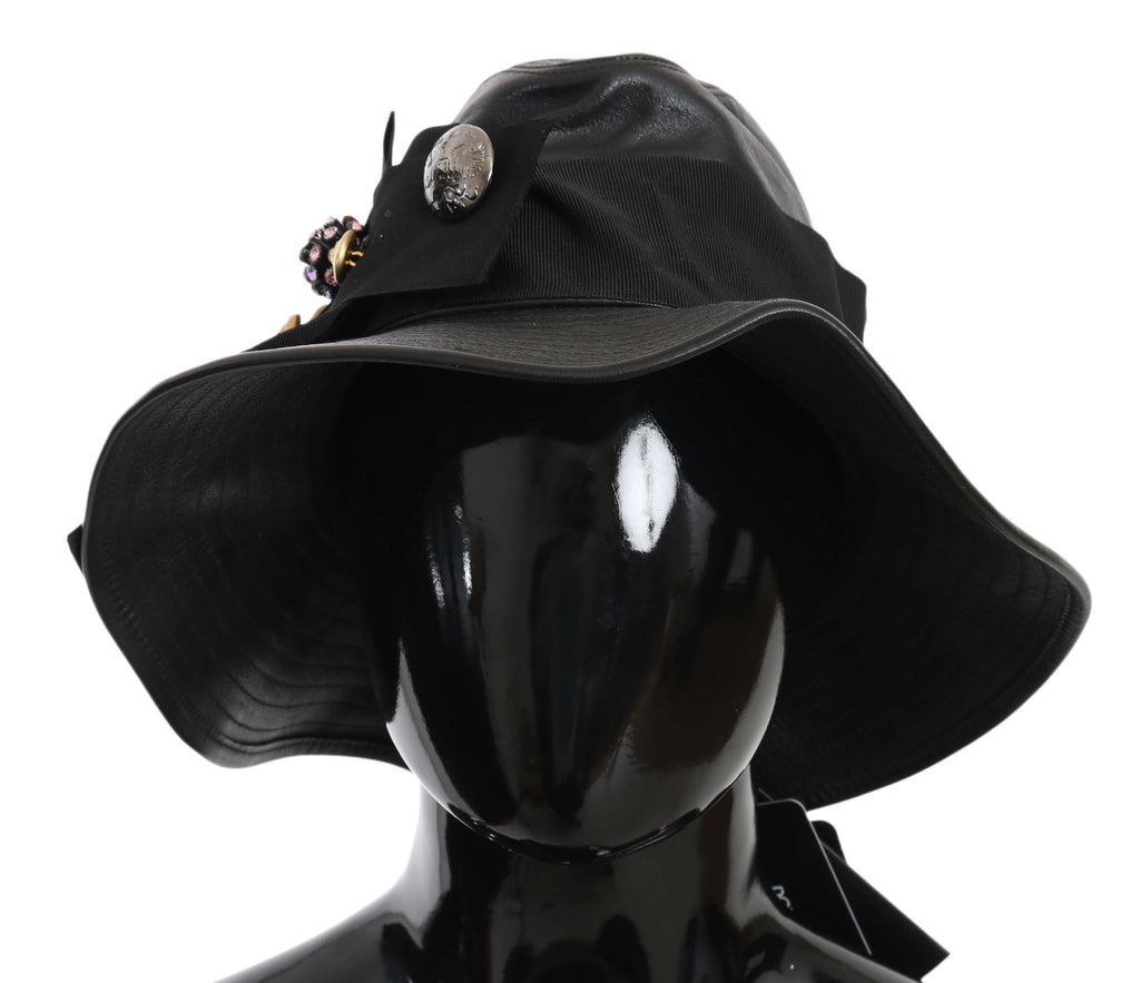 Dolce & Gabbana Black Leather DG Coin Crystal Wide Brim Women's Hat