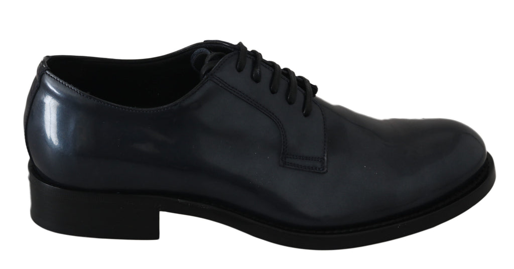 Dolce & Gabbana Blue Leather Derby Dress Formal Men's Shoes