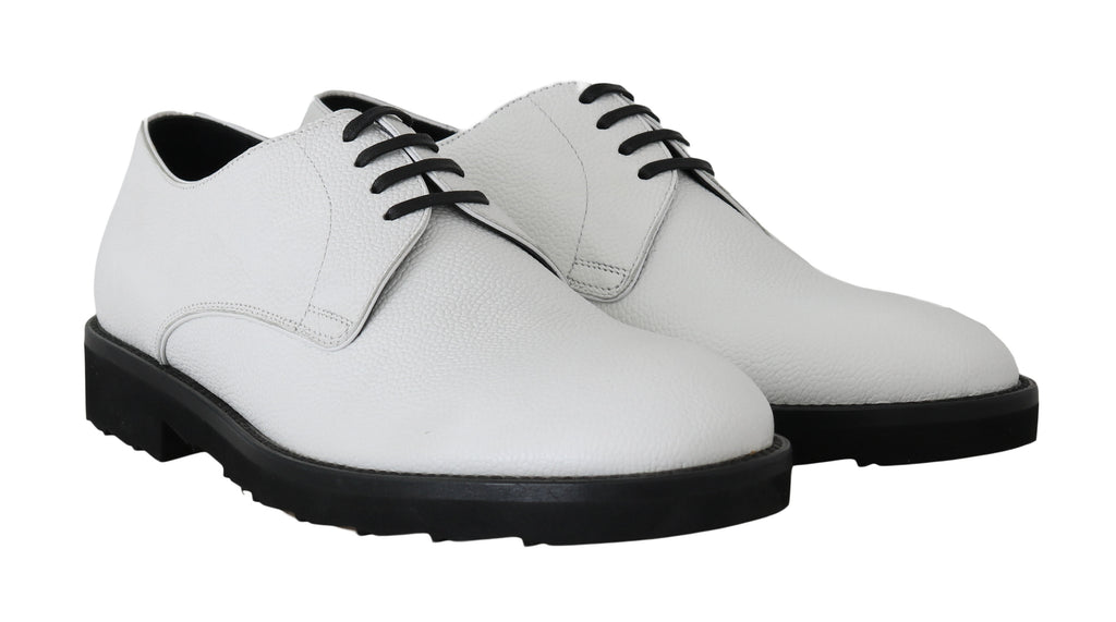 Dolce & Gabbana White Leather Derby Dress Formal Men's Shoes
