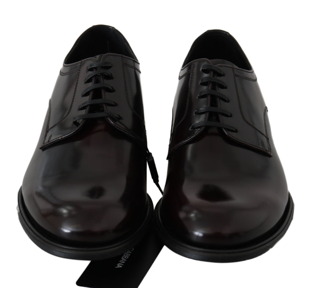 Dolce & Gabbana Bordeaux Polished Leather Sangria Men's Shoes