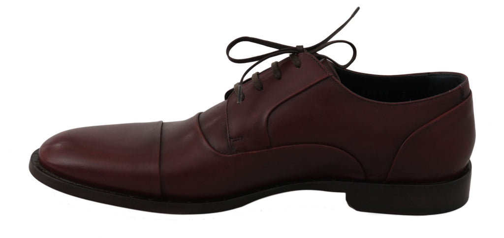 Dolce & Gabbana Red Bordeaux Leather Derby Formal Men's Shoes