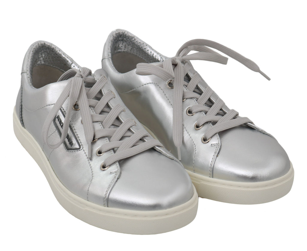 Dolce & Gabbana Silver Leather Mens Casual Men's Sneakers