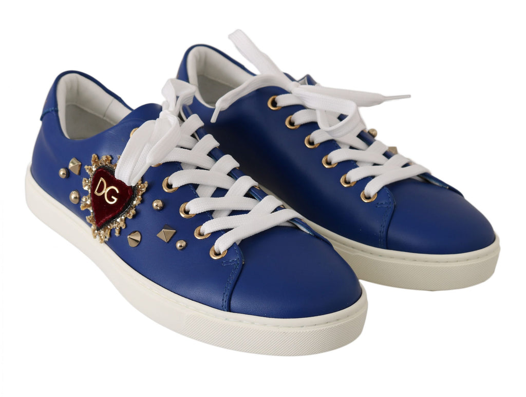 Dolce & Gabbana Blue Leather Gold Red Heart Shoes Women's Sneakers