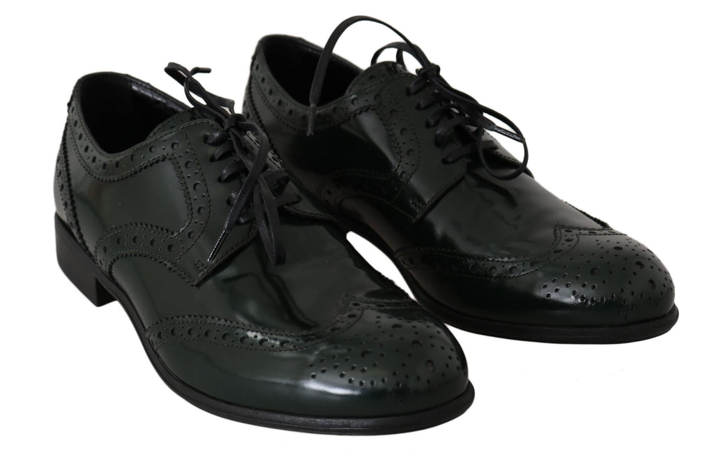 Dolce & Gabbana Green Leather Broque Oxford Wingtip Women's Shoes