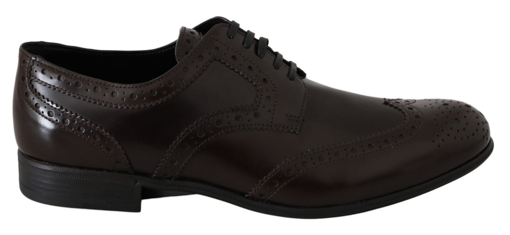Dolce & Gabbana Brown Leather Broques Oxford Wingtip Women's Shoes