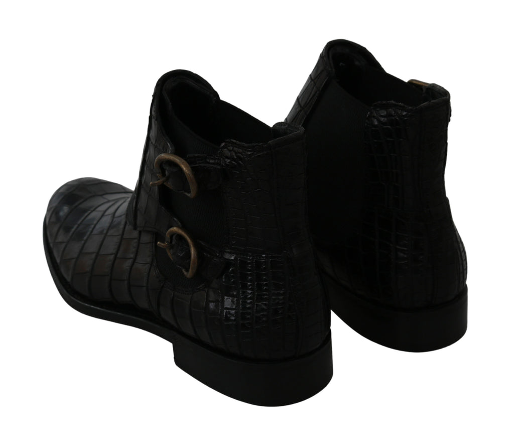 Dolce & Gabbana Black Crocodile Leather Derby Boots Men's Shoes
