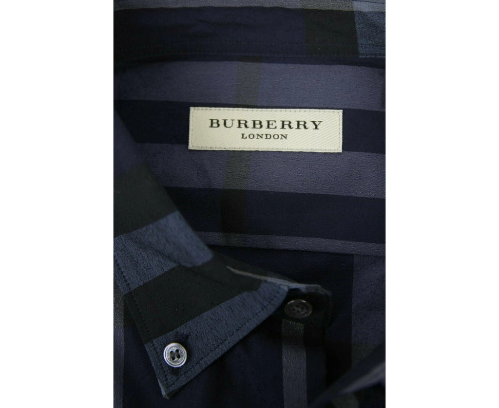 Burberry Men's Navy Blue Gray Cotton Dress Shirt 3944129