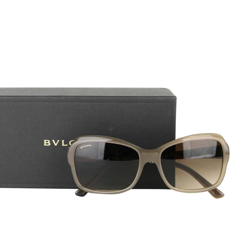 Bvlgari Women's Triangle Pattern Gray Brown Metal Oversized Sunglasses 8153-B 5349/1 - LUX LAIR