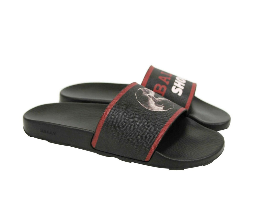 Bally Men's Black Rubber With Logo And Red Edge Consumer Slide Sandals (9 EU / 10 US)