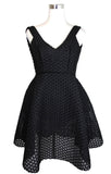Maje Women's Fit and Flare Black Mesh Embroidered Polyester Trims Dress E17RINGO
