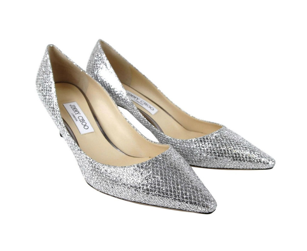 Jimmy Choo Women's Romy 60 Silver Glitter Fabric Heel Pumps GFA247