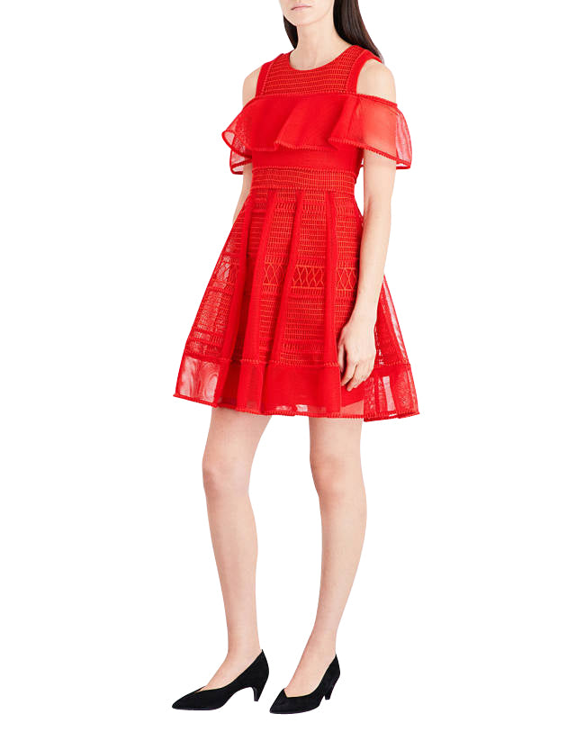 Maje Women's A-line Red Polyester Mesh-Kint Embroidered Dress H17ROSALIE