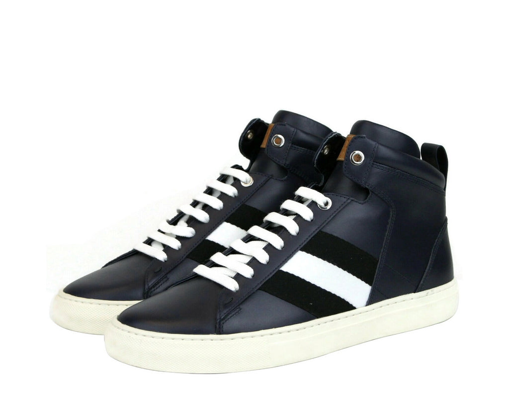 Bally Mens Dark Blue Calf Leather Hi-top Sneaker With black White Hedern-129 (Size: 8 D)