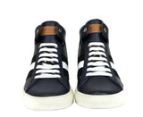 Bally Hi-top Sneakers Dark Blue Leather - Pair Front Look