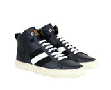 Bally Hi-top Sneakers Dark Blue Leather - Trendy Look