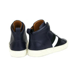 Bally Hi-top Sneakers Dark Blue Leather - Pair Back Look