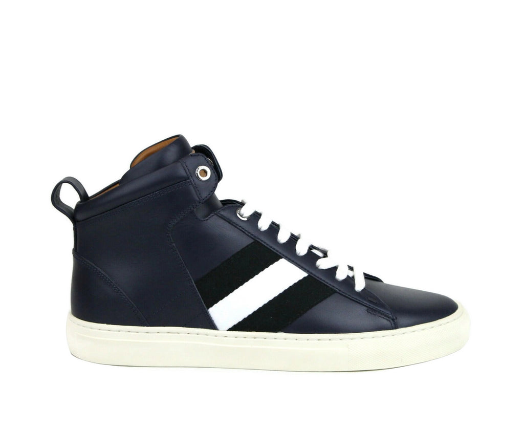 Bally Mens Dark Blue Calf Leather Hi-top Sneaker With black White Hedern-129 (Size: 8 D) - LUX LAIR
