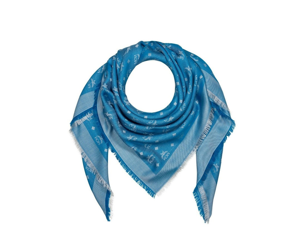MCM Scarf Blue Monogram Jacquard Shawl for Women