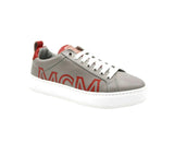 MCM Sneakers Low Top Grey Leather With Red Trim & Logo