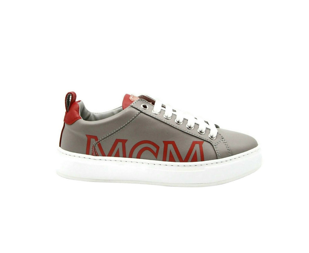MCM Sneakers Low Top Grey Leather & Logo - Side