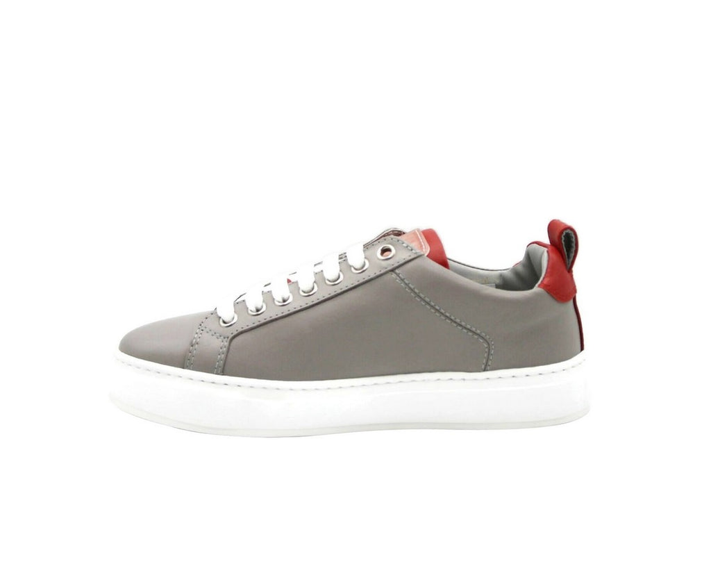 MCM Sneakers Low Top Grey Leather & Logo - Outer Side