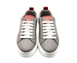 MCM Sneakers Low Top Grey Leather & Logo - Front