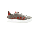 MCM Women's Grey Leather With Red Trim And Logo Low Top Sneaker MES9AMM16EG