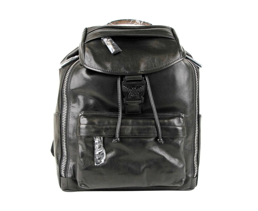 MCM Women's Killian Black Leather Medium Backpack With 2 Side Zippers MUK7SKB01BK001 - LUX LAIR