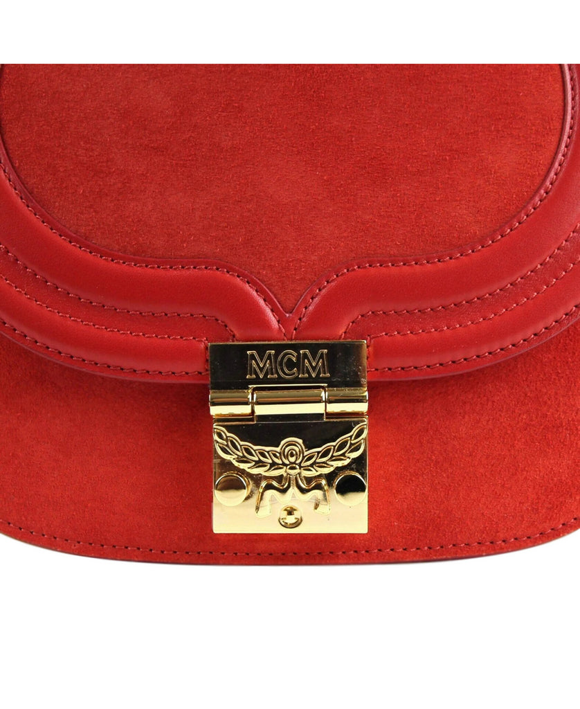 MCM Women's Red Suede / Leather Trisha Crossbody Bag MWS8STS94RE001