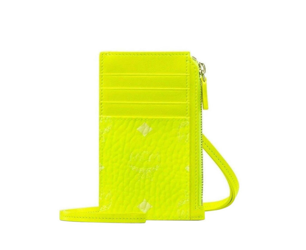 MCM Women's Neon Yellow Lanyard Visetos Coated Canvas Card Holder MXA9AVI37YN001