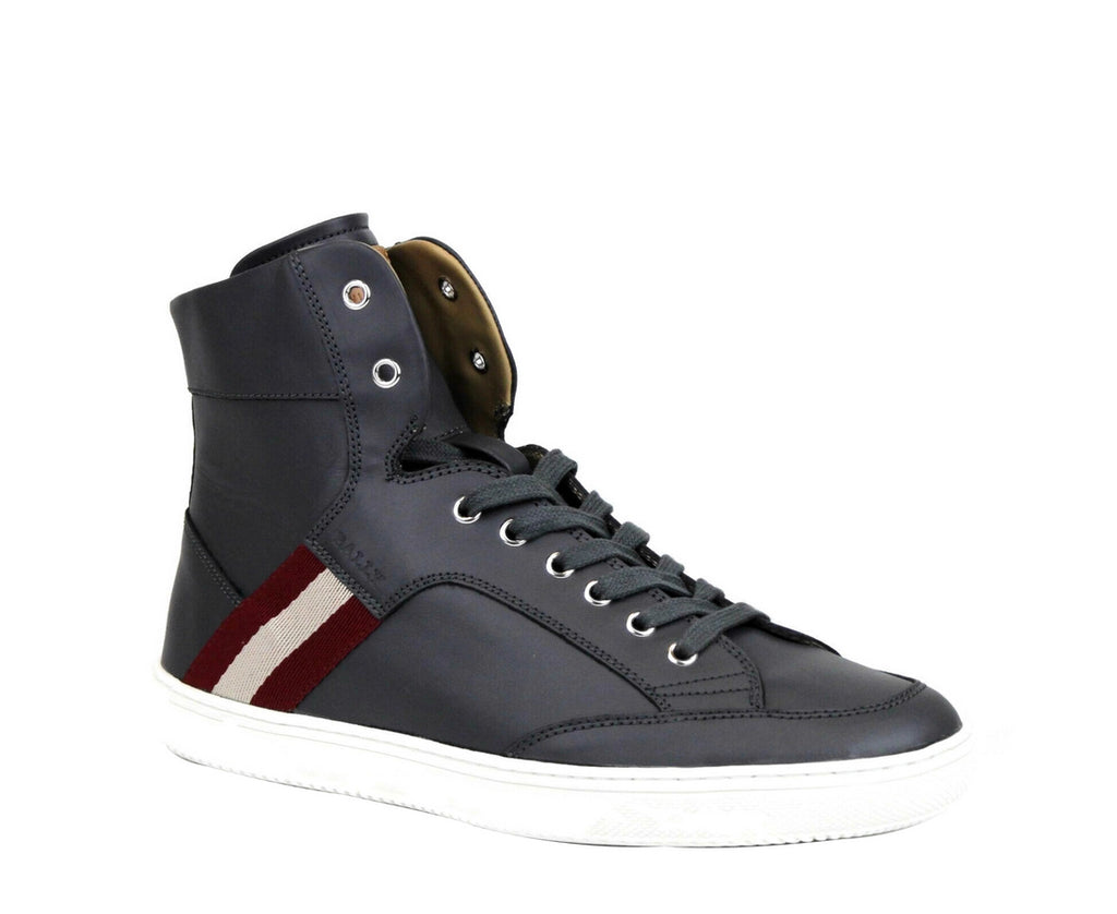 Bally Men's Dark Grey Calf Leather Hi-top Sneaker With Red Beige Oldani.o-225