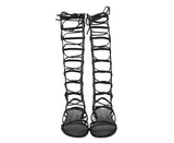 Stuart Weitzman Women's Sparta Black Leather Gladiator Boots