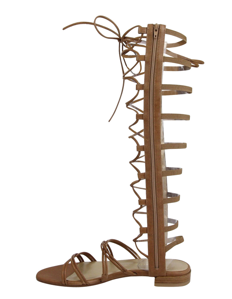 Stuart Weitzman Women's Brown Camel Nappa Leather Sparta Gladiator Boots - LUX LAIR