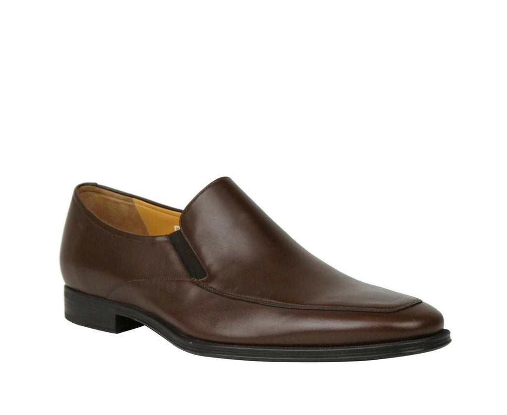 Bally Brown Calf Leather Slip On Loafers With Script Logo Thor-131 (10.5 D US)