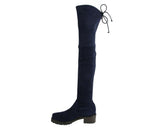 Stuart Weitzman Women's Vanland Dark Blue Suede Knee High Boots