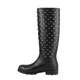 Saint Laurent Women's Black Rubber Women Rain Boots With Crystal Studs 427307 1000 (36 EU / 6 US) - LUX LAIR