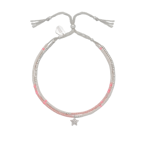 Estella Bartlett Pink and Silver Phoebe Friendship Bracelet