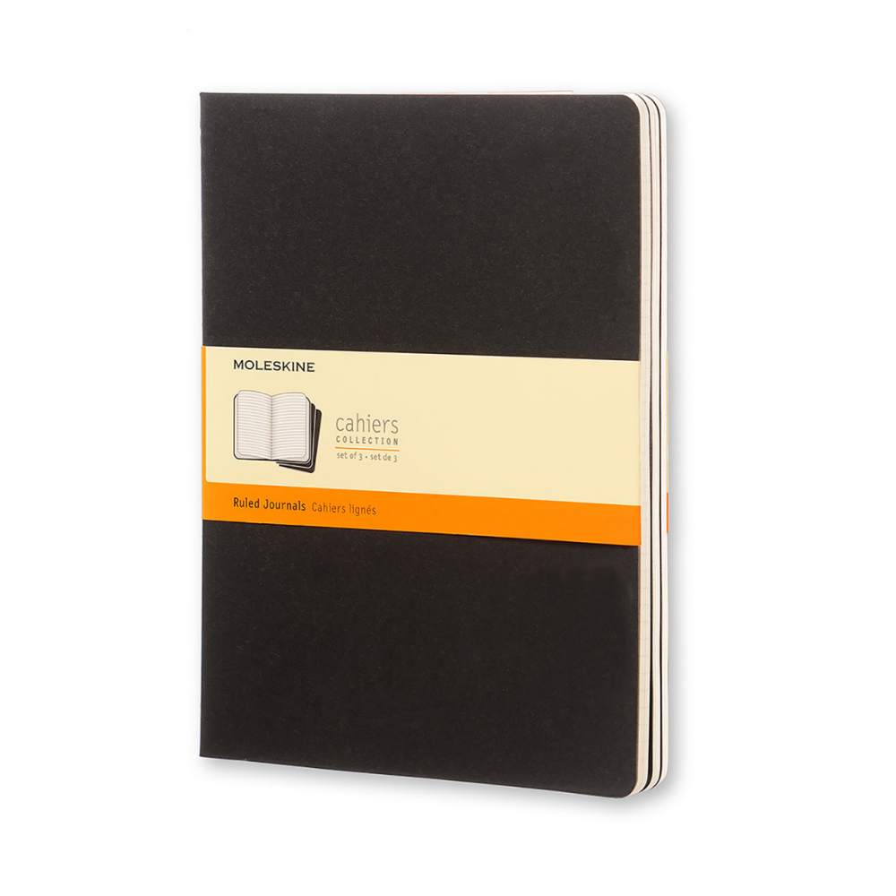 Moleskine Set of 3 XL Black Ruled Cahiers Journals
