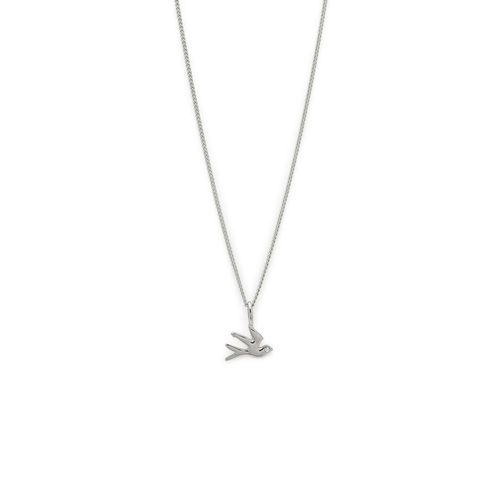 Zora Silver Plated and Crystal Bird Pendant Necklace
