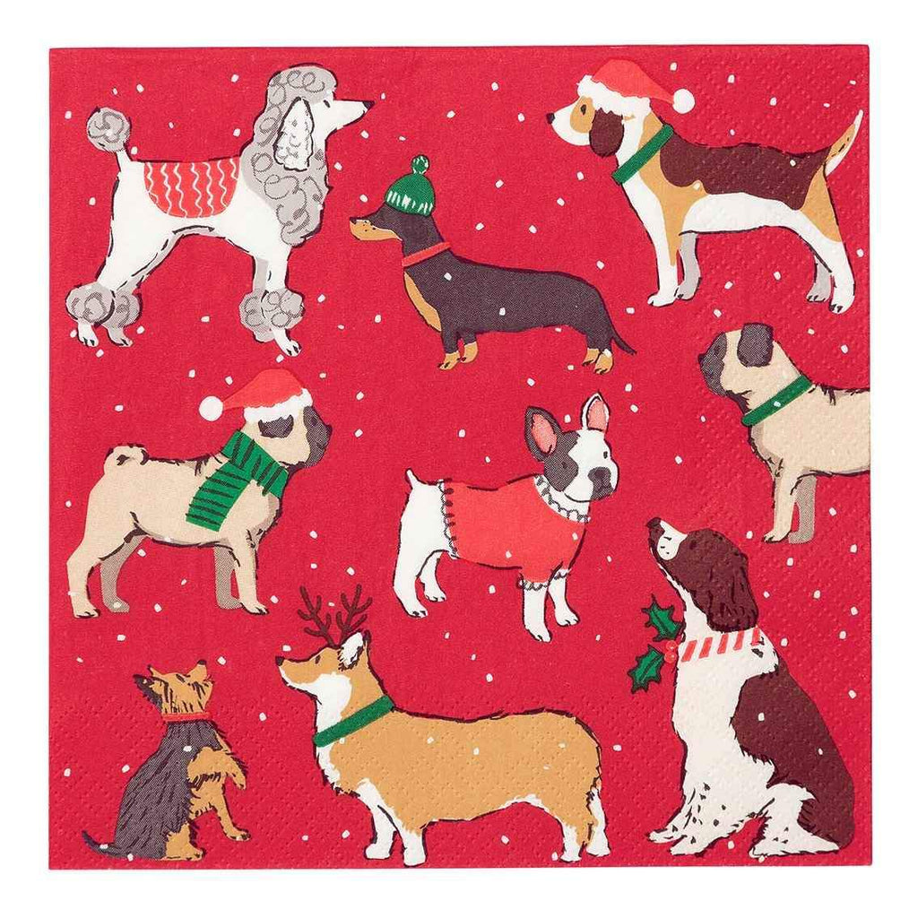 Botanical Christmas Dog Napkins