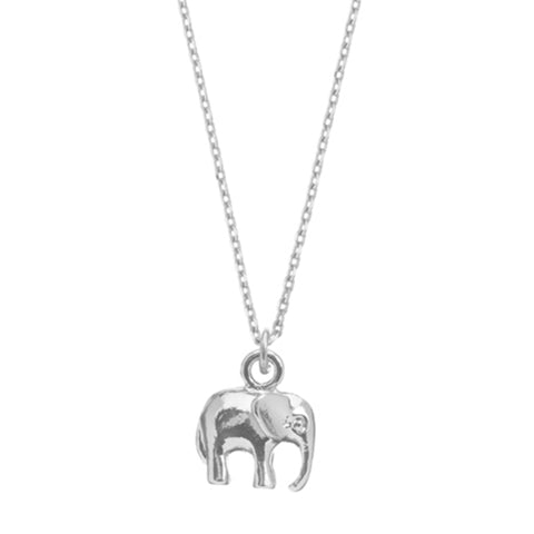 Elephant Charm Necklace Silver Plated