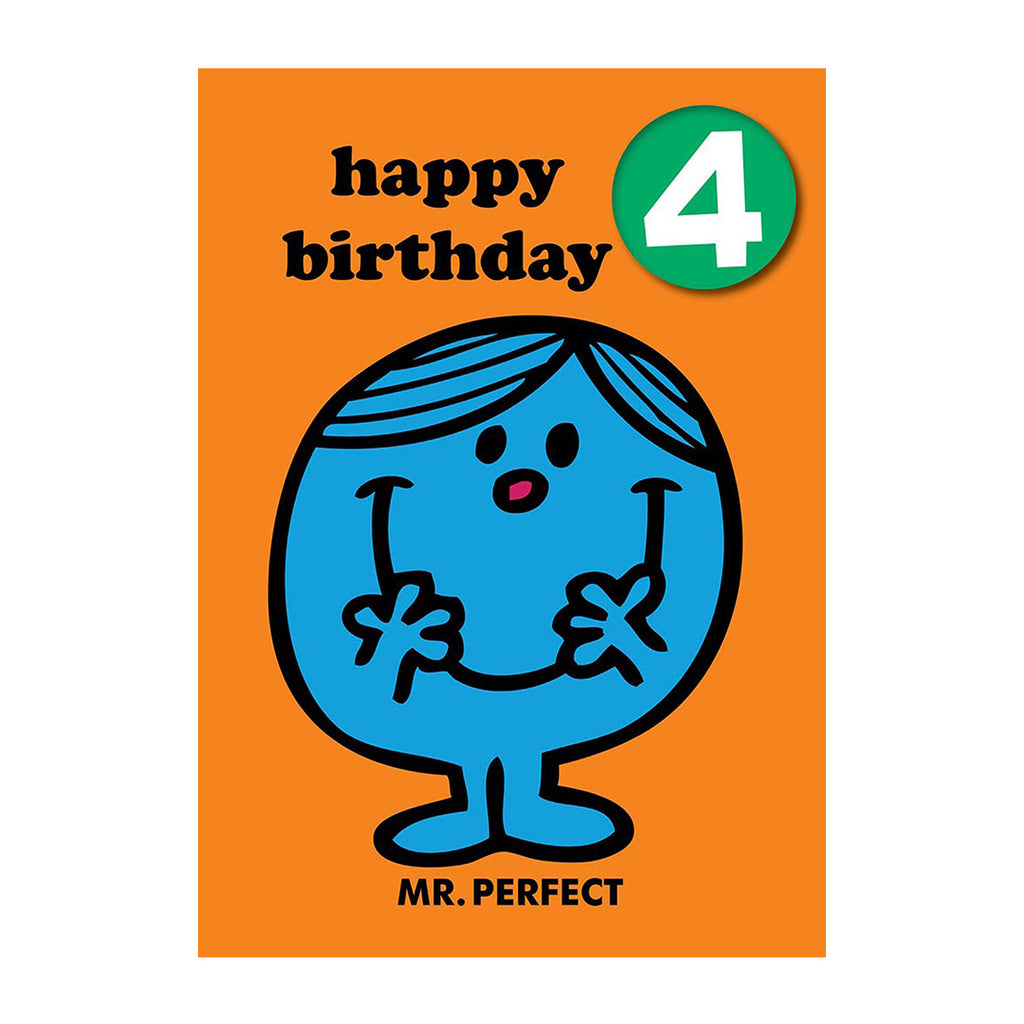 Mr Perfect Happy 4th Birthday Card With Badge