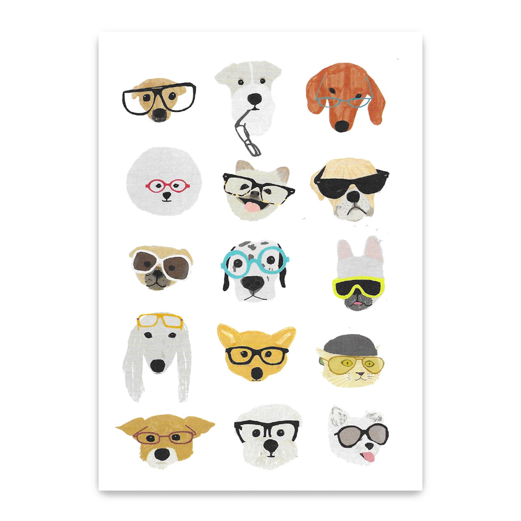 Dogs In Glasses Postcard