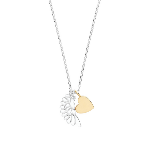 Estella Bartlett Wing and Heart Gold and Silver Plated Necklace