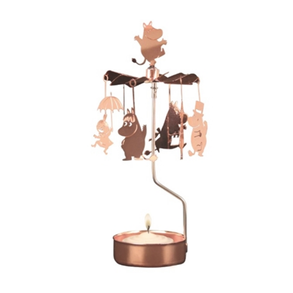 Copper Moomin Family Rotary Tealight Candle Holder