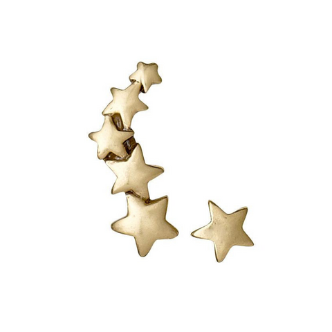Ava Star Crawler Gold Plated Earrings