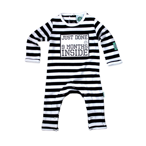 Just Done 9 Months Inside Baby Grow - Black and White