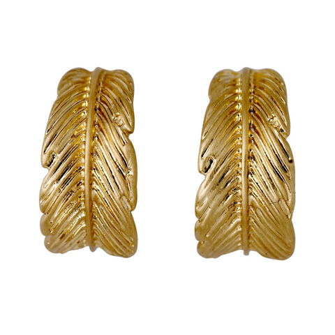 Lauren Boho Feather Gold Plated Earrings