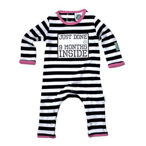 Just Done 9 Months Inside Baby Grow - Black, White + Pink