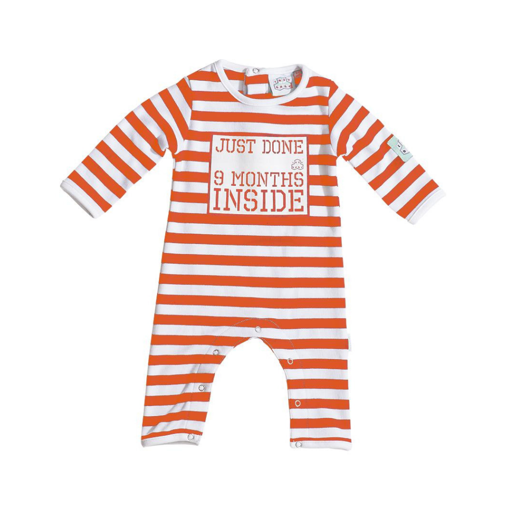 Just Done 9 Months Inside Baby Grow - Orange and White